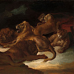 Lions in a Mountainous Landscape, Jean Louis Andre Theodore Gericault