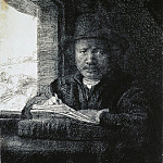 Rembrandt, Harmenszoon van Rijn – Rembrandt drawing at a window, part 10 Hermitage