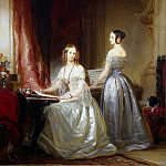Robertson, Christina – Portrait of Grand Duchesses Olga Nikolaevna and Alexandra Nikolaevna the harpsichord, part 10 Hermitage