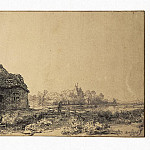 Rembrandt, Harmenszoon van Rijn – Landscape with a cabin and barn, part 10 Hermitage