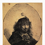 Rembrandt, Harmenszoon van Rijn – Self-portrait in a cap with a plume and lowered his sword, part 10 Hermitage