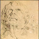 Study of the head man, looking upward, hands and part of the male profile, Peter Paul Rubens