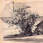 part 10 Hermitage - Premazzi, Luigi - Wooden house with a dog kennel and the lilac bush. Sketch