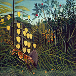 Tiger attack at the bull. In the rainforest, Henri Rousseau