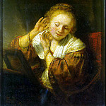 Rembrandt, Harmenszoon van Rijn – A young woman trying on earrings, part 10 Hermitage