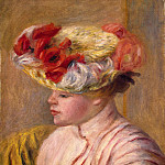 A young woman in a hat with flowers, Pierre-Auguste Renoir