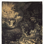 Rembrandt, Harmenszoon van Rijn – Annunciation to the shepherds, part 10 Hermitage