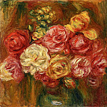 Bouquet of Roses in a Green Vase, Pierre-Auguste Renoir