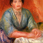 Seated Woman in a Blue Dress - 1915, Pierre-Auguste Renoir