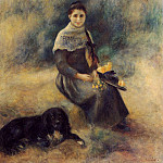 Young Girl with a Dog - 1888. , Pierre-Auguste Renoir