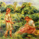 Two Young Women in a Landscape - 1916, Pierre-Auguste Renoir