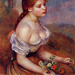 Young Girl with Daisies - 1889, Pierre-Auguste Renoir