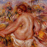 After Bathing, Seated Female Nude, Pierre-Auguste Renoir