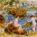 Nude Boys on the Rocks at Guernsey - 1883, Pierre-Auguste Renoir