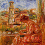 Woman at the Window with a View of Nice - 1918, Pierre-Auguste Renoir