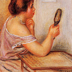 Gabrielle Holding a Mirror with a Portrait of Coco, Pierre-Auguste Renoir