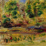 Woman Wearing a Hat in a Landscape - 1910, Pierre-Auguste Renoir