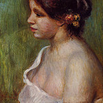 Bust of a Young Woman with Flowered Ear – 1898, Pierre-Auguste Renoir