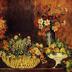 Vase, Basket of Flowers and Fruit – 1889 – 1890, Pierre-Auguste Renoir