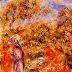 Three Women and Child in a Landscape - 1918, Pierre-Auguste Renoir