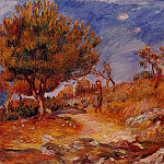 Landscape. Woman under a Tree - ок 1882 - 1883, Pierre-Auguste Renoir