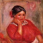 Gabrielle in a Red Blouse - 1896, Pierre-Auguste Renoir