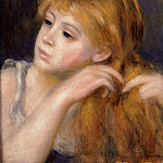 Head of a Young Woman - 1890, Pierre-Auguste Renoir