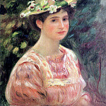 Young Woman Wearing a Hat with Wild Roses - 1896, Pierre-Auguste Renoir
