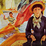 Пьер Огюст Ренуар - Canoeing (also known as Young Girl in a Boat) - 1877