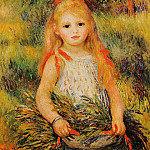 Little Girl with a Spray of Flowers - 1888, Pierre-Auguste Renoir