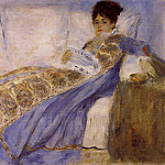 Madame Monet on a Sofa - 1874, Pierre-Auguste Renoir