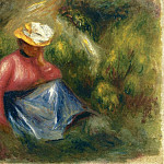 Seated Young Girl with Hat - 1900, Pierre-Auguste Renoir