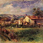 Young Woman Standing near a Farmhouse in Milly – 1892, Pierre-Auguste Renoir