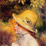Young Girl in a Straw Hat - 1890, Pierre-Auguste Renoir
