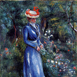 Пьер Огюст Ренуар - Woman in a Blue Dress, Standing in the Garden of Saint-Cloud - 1899