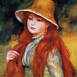 Young Girl in a Straw Hat - 1884, Pierre-Auguste Renoir
