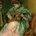 Woman with a Guitar - 1896 - 1897, Pierre-Auguste Renoir