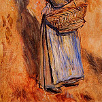 Peasant Woman Standing in a Landscape – 1884, Пьер Огюст Ренуар