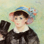 Young Woman in a Straw Hat - 1877, Pierre-Auguste Renoir