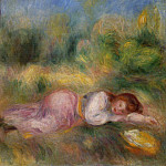 Girl Streched out on the Grass - 1890, Pierre-Auguste Renoir