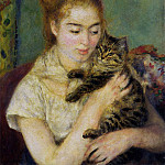 Woman with a Cat - 1875, Pierre-Auguste Renoir