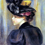 Young Woman Wearing a Black Hat - 1895, Pierre-Auguste Renoir