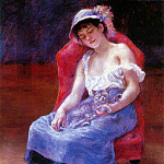 Sleeping Girl (also known as Girl with a Cat - 1880, Pierre-Auguste Renoir