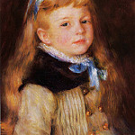 Mademoiselle Grimprel in a Blue Ribbon - 1880, Pierre-Auguste Renoir