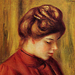 Profile of a Woman in a Red Blouse - 1897, Pierre-Auguste Renoir
