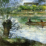 Pierre-Auguste Renoir - Willows and Figures in a Boat - 1880