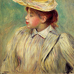 Young Woman in a Straw Hat, Pierre-Auguste Renoir