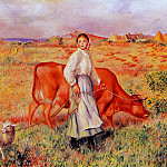 Shepherdess, Cow and Ewe - 1886 - 1887, Pierre-Auguste Renoir