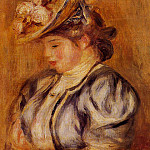 Girl in a Flowery Hat - ок 1905 -1908, Pierre-Auguste Renoir