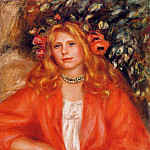 Young Woman Wearing a Garland of Flowers - 1908, Pierre-Auguste Renoir